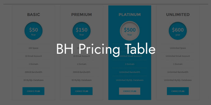BH Pricing Table