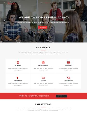 Comilla – Digital Agency One Page WordPress Theme -