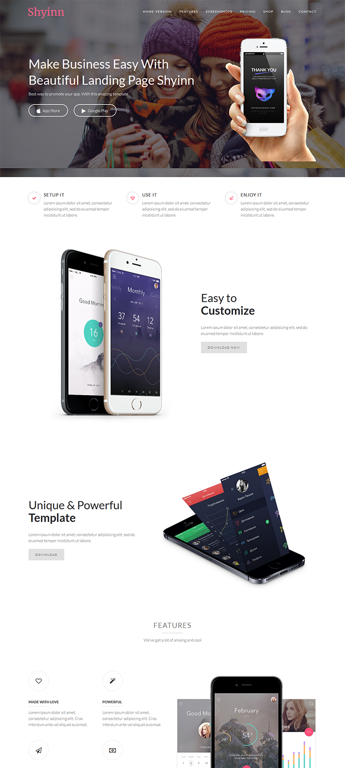 Shyinn – One Page App WordPress Theme -