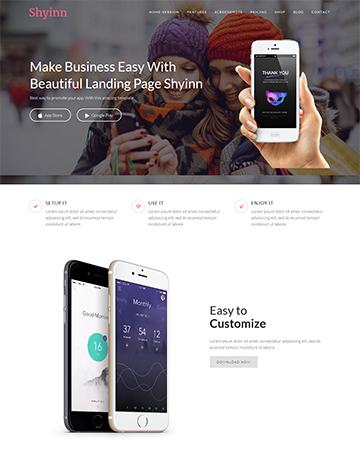 Shyinn – One Page App WordPress Theme -