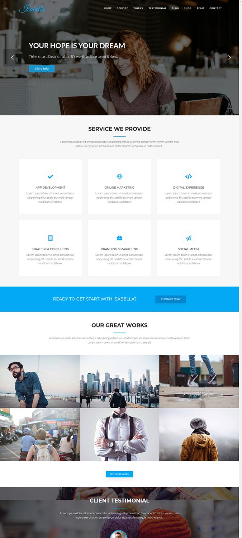Isabella – Digital Agency One Page WordPress Theme -