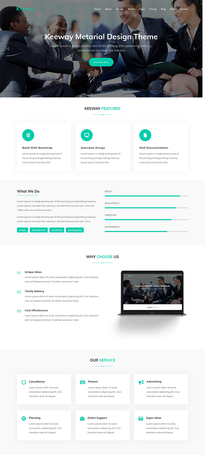Keeway – Digital Agency One page WordPress Theme -